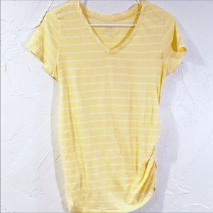 💜 Light yellow striped maternity t-shirt